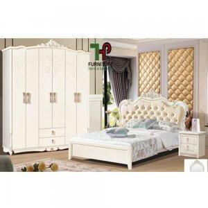 Giường ngủ cổ điển màu trắng