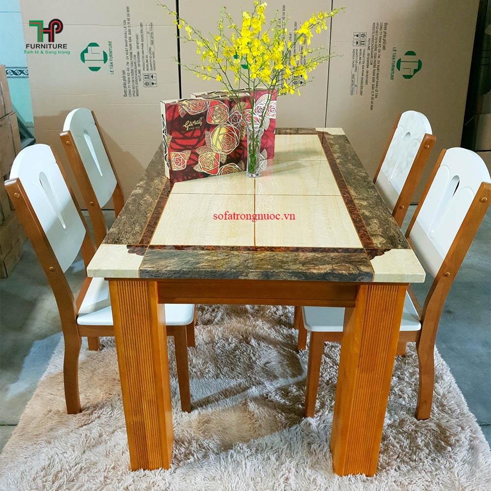 bàn ăn mặt đá hiện đại