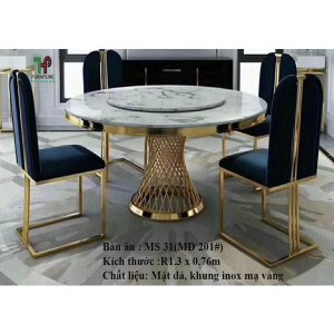 bàn ăn tròn mặt đá