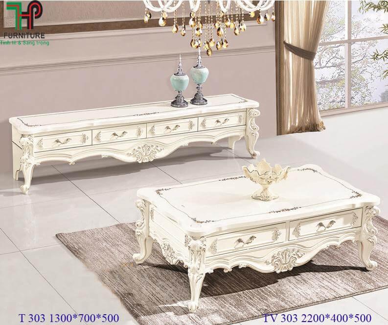 bàn trà phòng khách cổ điển