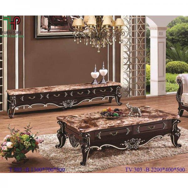 bàn trà sofa mặt đá cổ điển