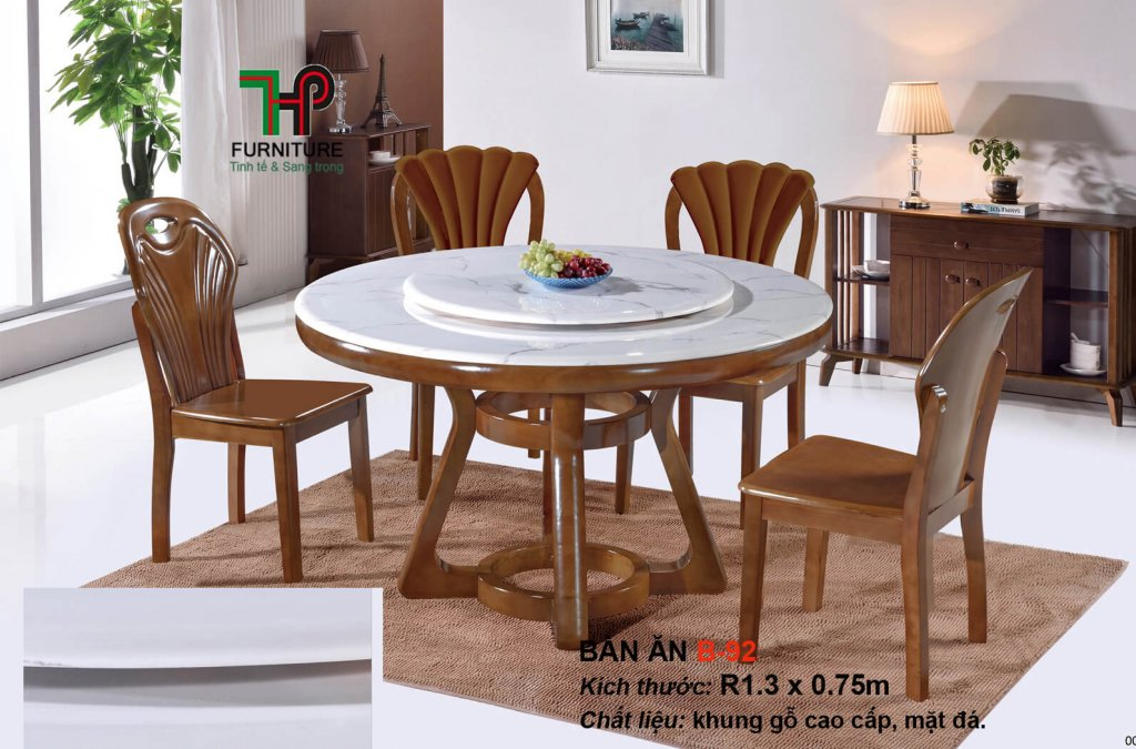 bộ bàn ăn tròn mặt đá