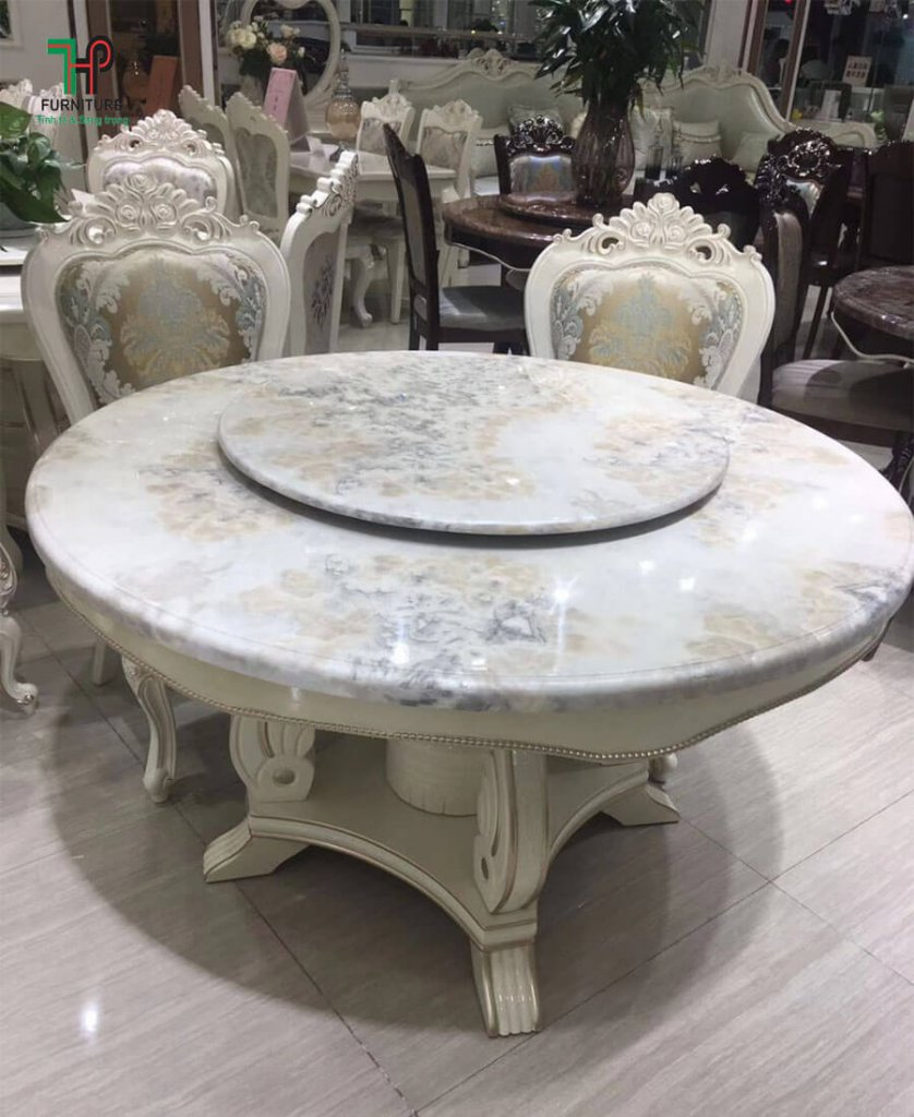 bàn ăn tròn xoay mặt đá
