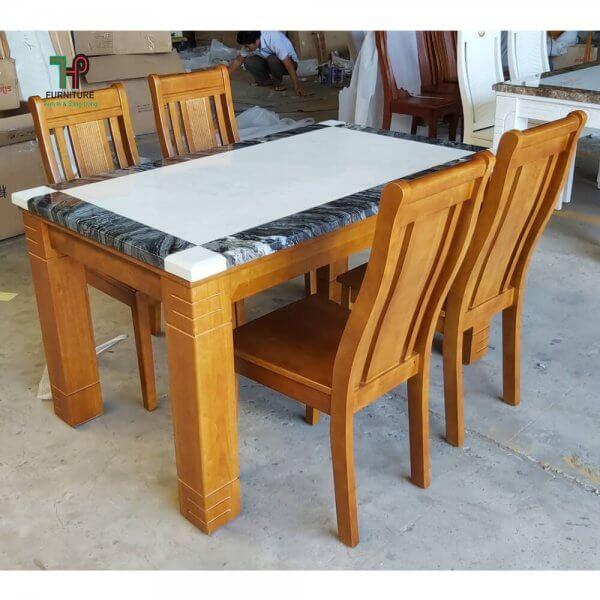bộ bàn ăn 6 ghế mặt đá