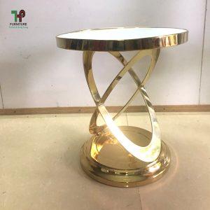 bàn tròn inox mạ