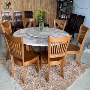 bàn ăn tròn mặt đá xoay
