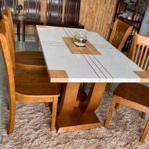 Bộ bàn ăn bằng gỗ mặt đá hóc môn