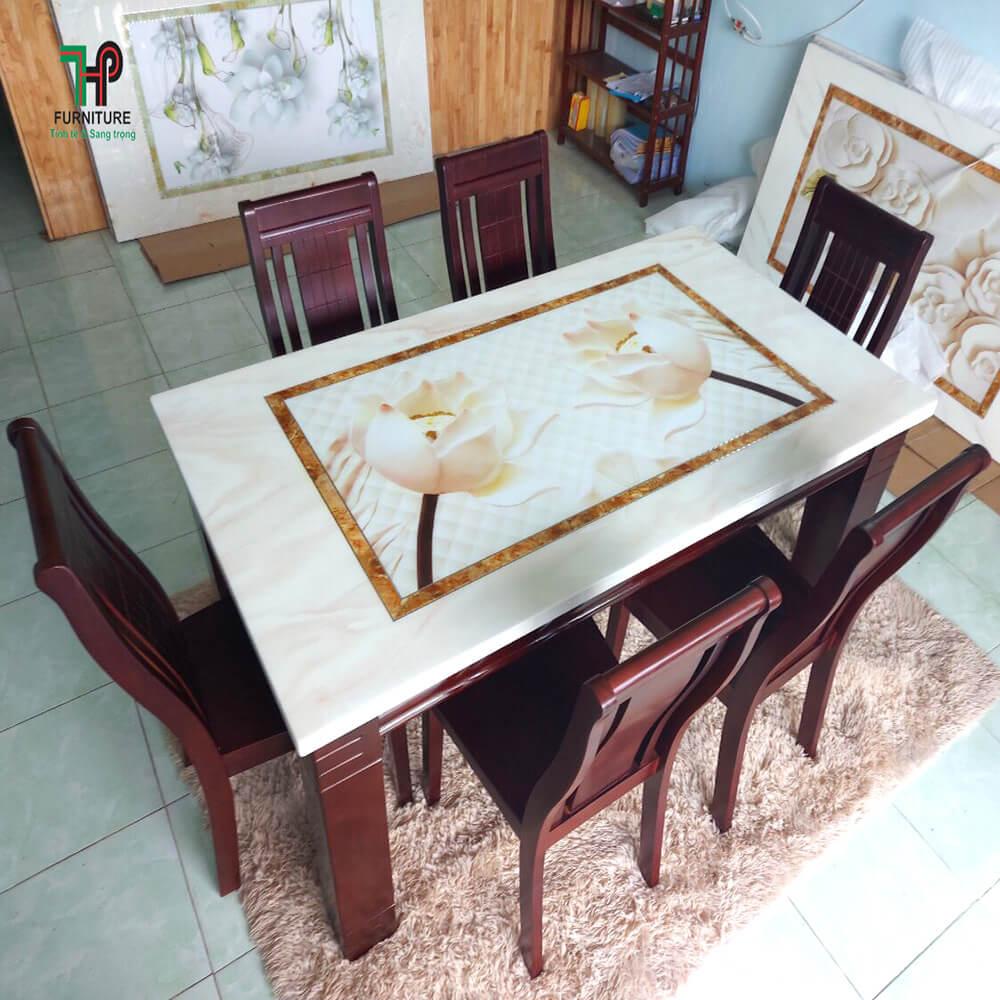 Bộ bàn ăn mặt đá 3D 6 ghế bình chánh