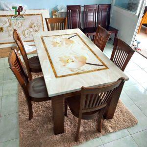 bàn ăn gỗ mặt đá 3D đẹp TPHCM