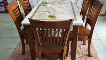 bàn ăn gỗ mặt đá 4 ghế