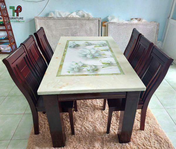 bàn ghế ăn gỗ mặt đá 3D TPHCM