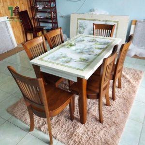 bộ bàn ghế ăn gỗ mặt đá 3D 4 ghế TPHCM
