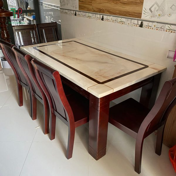 bộ bàn ăn chân gỗ mặt đá đẹp