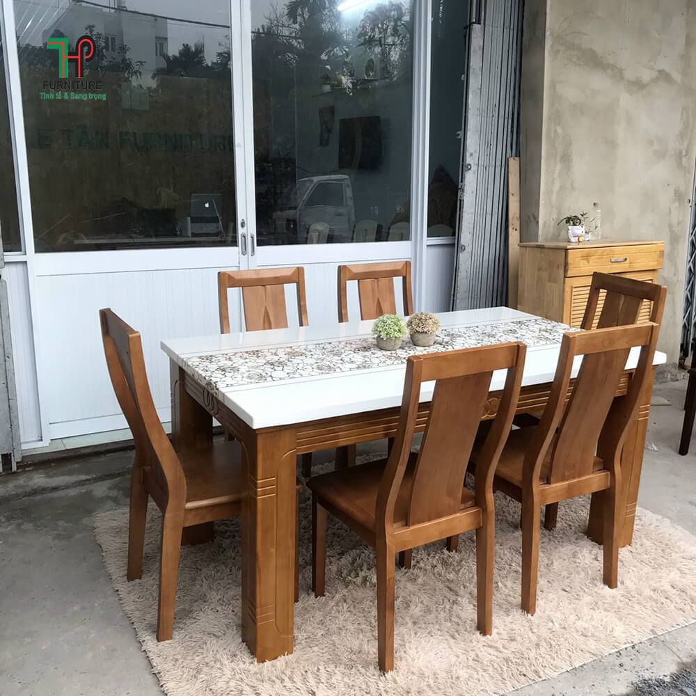 bộ bàn ghế ăn mặt đá