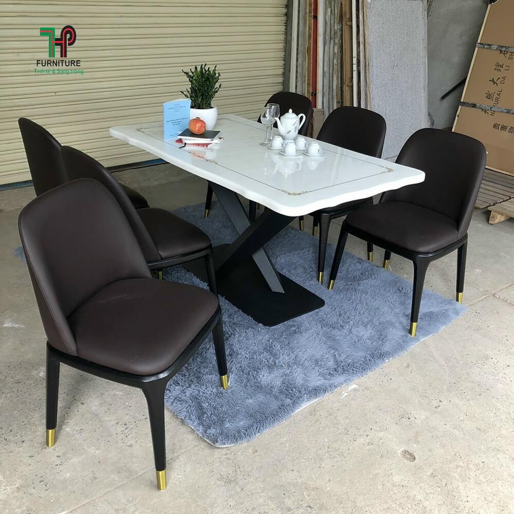 bàn ghế ăn 6 ghế mặt đá
