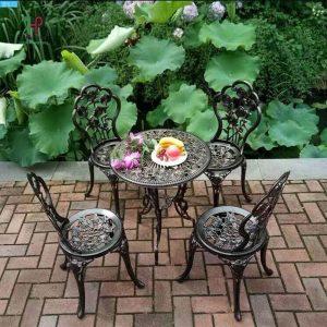 Bàn ghế hợp kim tròn sân vườn