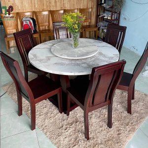 bàn ghế ăn gỗ mặt đá 6 ghế