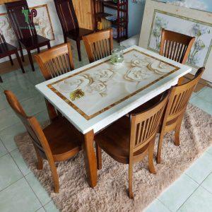 bộ bàn ghế phòng ăn mặt đá 3D 4 ghế TPHCM