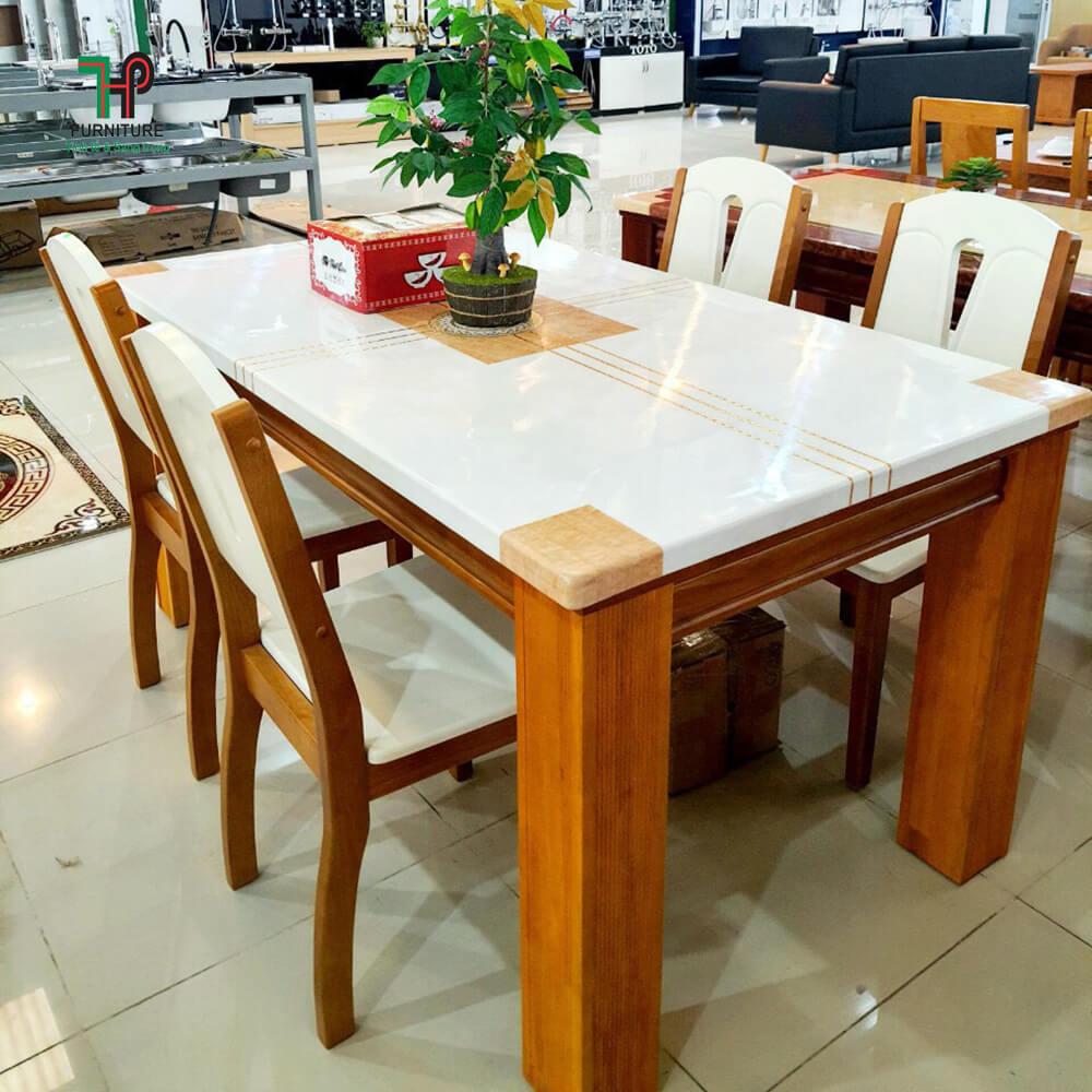 bàn ghế ăn mặt đá 6 ghế