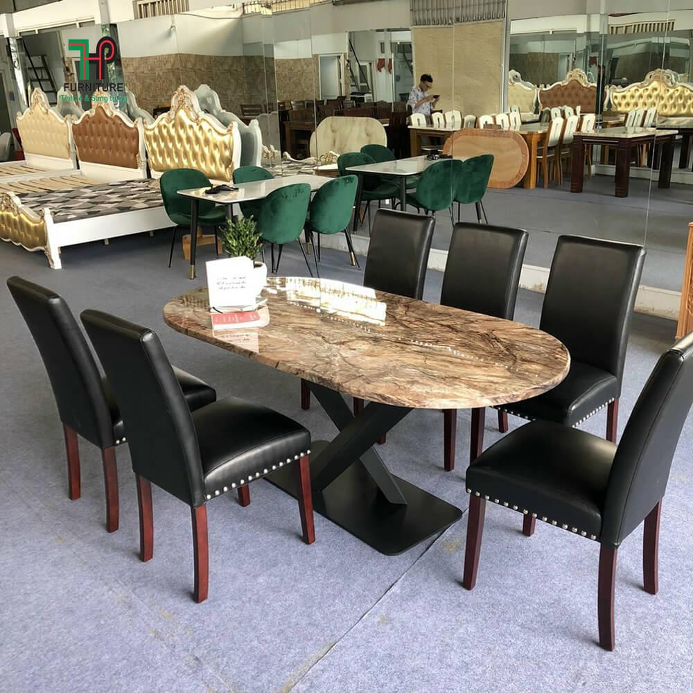 bàn ăn mặt đá elip 6 ghế